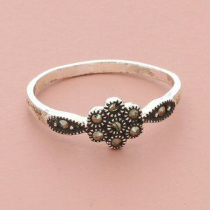 sterling silver dainty marcasite flower ring